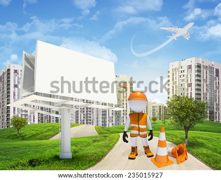 Three-dimensional man dressed as a road worker standing by blank billbord and traffic cones on road through green hills. High-rise buildings with jet lowering above as backdrop - stock photo