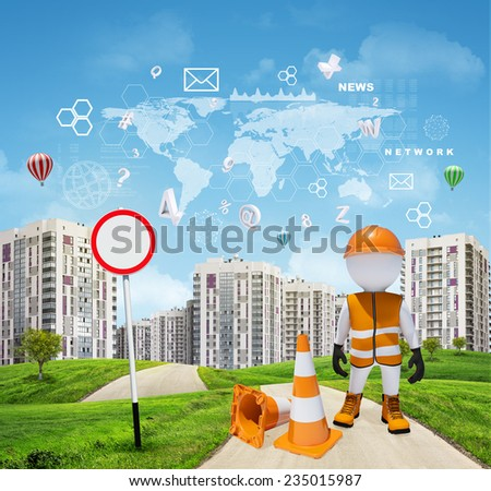 Three-dimensional man dressed as road worker by traffic cones and traffic sign on road running through green hills towards high-rise buildings with a few air-baloons above. Charts and other virtual - stock photo