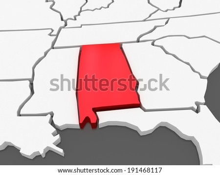 Three-dimensional map of Alabama. USA. 3d - stock photo