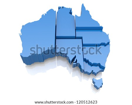 Three-dimensional map of Australia on white background. 3d - stock photo
