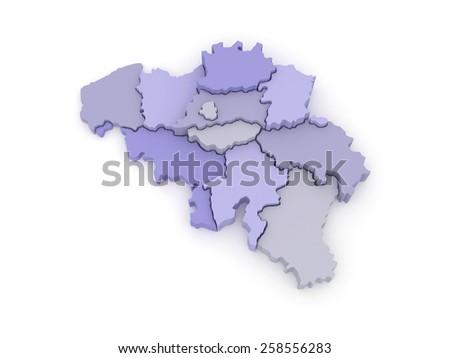 Three-dimensional map of Belgium. 3d - stock photo