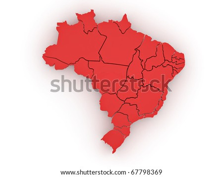 Three-dimensional map of Brazil on white isolated background. 3d - stock photo
