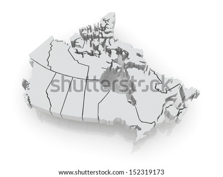 Three-dimensional map of Canada. 3d - stock photo