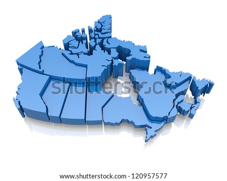 Three-dimensional map of Canada on white background. 3d - stock photo