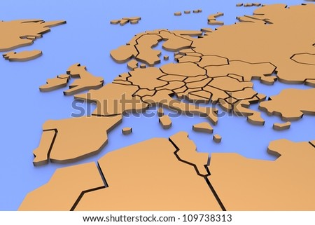 Three-dimensional map of Europe - stock photo