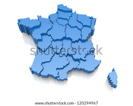 Three-dimensional map of France on white background. 3d - stock photo