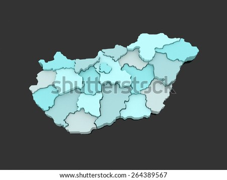 Three-dimensional map of Hungary. 3d - stock photo