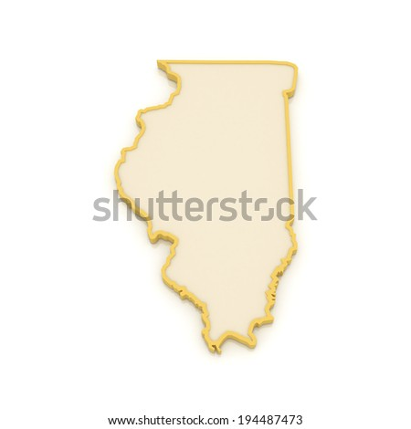 Three-dimensional map of Illinois. USA. 3d - stock photo