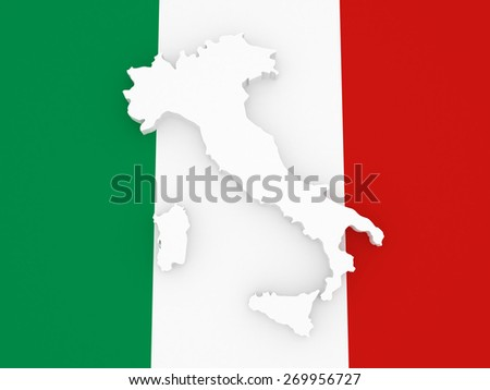 Three-dimensional map of Italy. 3d - stock photo