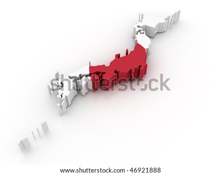 Three dimensional map of Japan in Japanese flag colors. - stock photo
