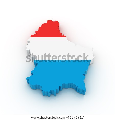 Three dimensional map of Luxembourg in Luxembourg flag colors. - stock photo
