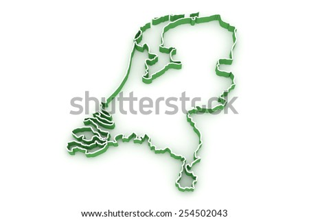 Three-dimensional map of Netherlands. 3d - stock photo