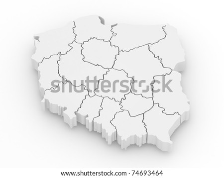 Three-dimensional map of Poland on white isolated background. 3d - stock photo