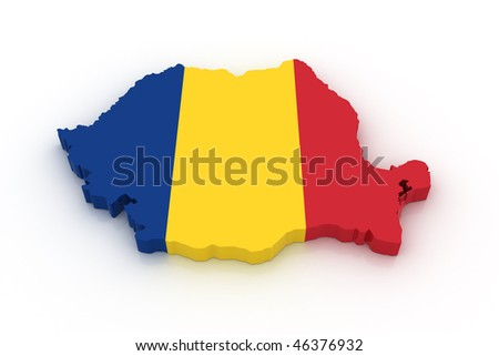 Three dimensional map of Romania in Romanian flag colors. - stock photo