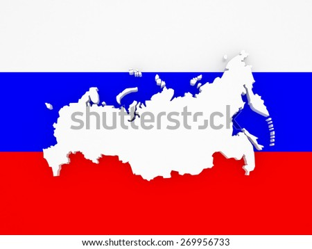 Three-dimensional map of Russia. 3d - stock photo
