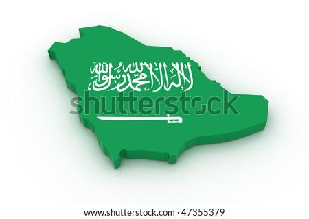 Three dimensional map of Saudi Arabia in Saudi Arabian flag colors. - stock photo