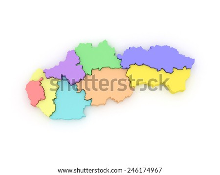 Three-dimensional map of Slovakia. 3d - stock photo