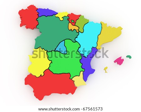 Three-dimensional map of Spain on white isolated background. 3d - stock photo