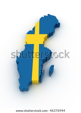 Three dimensional map of Sweden in Swedish flag colors. - stock photo
