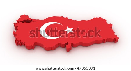 Three dimensional map of Turkey in Turkish flag colors. - stock photo