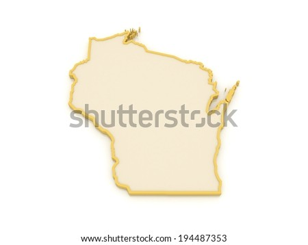 Three-dimensional map of Wisconsin. USA. 3d - stock photo