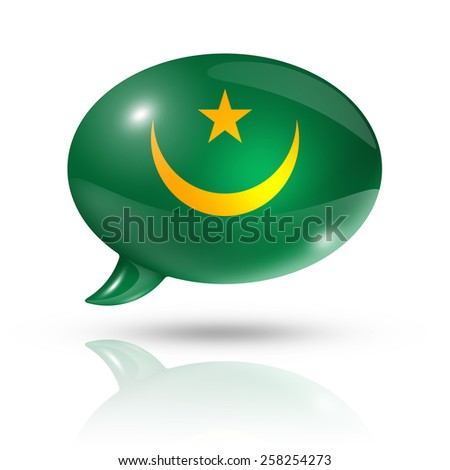 three dimensional Mauritania flag in a speech bubble isolated on white with clipping path - stock photo