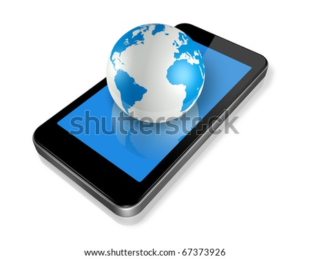three dimensional mobile phone and world globe isolated on white whith clipping path - stock photo
