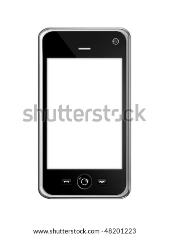 three dimensional mobile phone isolated on white with clipping path - stock photo