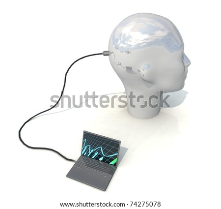 three-dimensional, notebook, head - stock photo