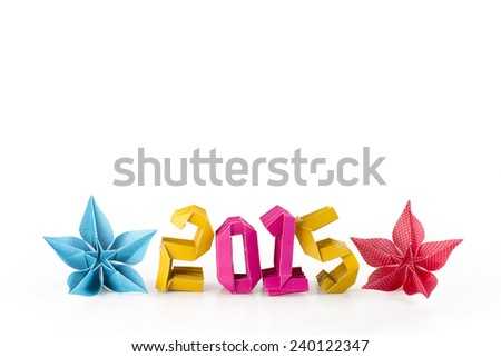 Three dimensional origami paper craft number 2015 with flowers isolated on white background for Merry Christmas and Happy New Year 2015 (with empty space on top for writing your own message) - stock photo