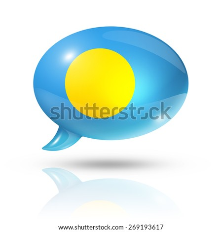 three dimensional Palau flag in a speech bubble isolated on white with clipping path - stock photo