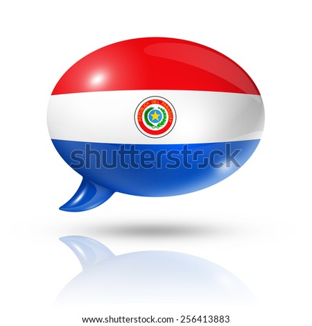 three dimensional Paraguay flag in a speech bubble isolated on white with clipping path - stock photo