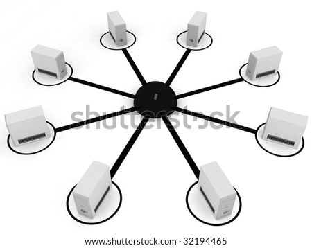 three dimensional processors of computer in networking - stock photo