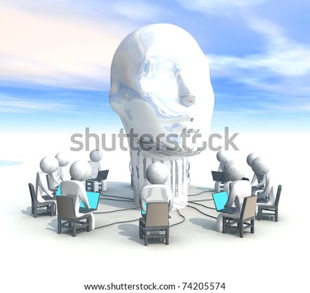 three-dimensional, programmer, head, - stock photo