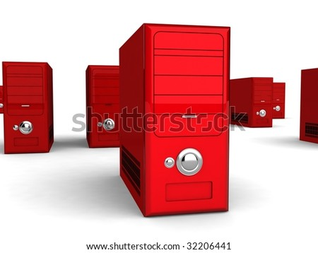 three dimensional red cpu - stock photo