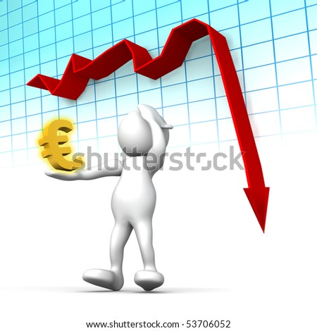 Three dimensional render of a cartoon human figure, holding his head while a graph shows the Euro in rapi decline. Conceptual image for failing economy. - stock photo
