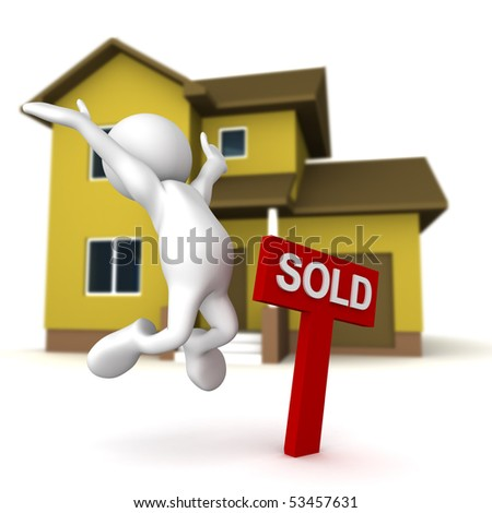 Three dimensional render of a cartoon human figure, jumping for joy next to a SOLD sign, with a home in the background. - stock photo