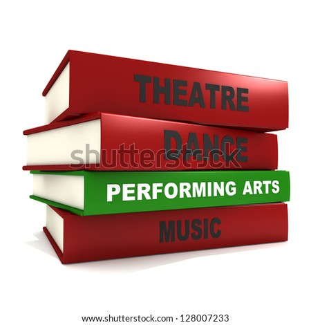 Three dimensional render of a pile of books for the concept of performing arts - stock photo