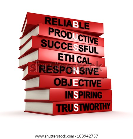 Three dimensional render of a pile of books that make up the word BUSINESS - stock photo