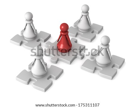 Three dimensional render of a red pawn and four white pawn working together. Concept for teamwork. - stock photo