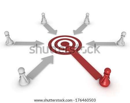 Three dimensional render of a red pawn heading for the target. Concept for target. - stock photo