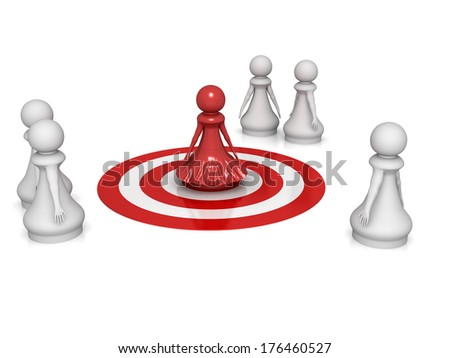 Three dimensional render of a red pawn lady on a target. Concept for Target. - stock photo