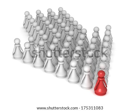 Three dimensional render of a red pawn standing in front of an arrow made of pawns. Concept for leadership. - stock photo