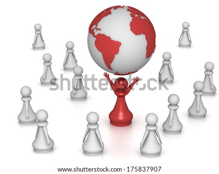 Three dimensional render of a red pawn with the world in his hands. - stock photo