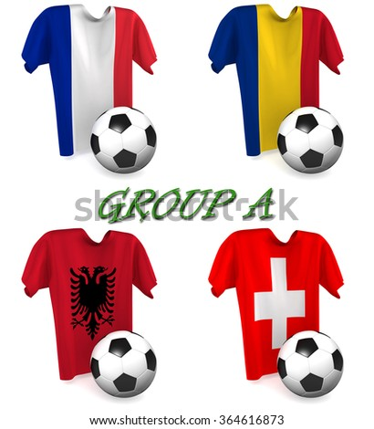 Three dimensional render of a t-shirt and ball depicting the four teams in group A - stock photo