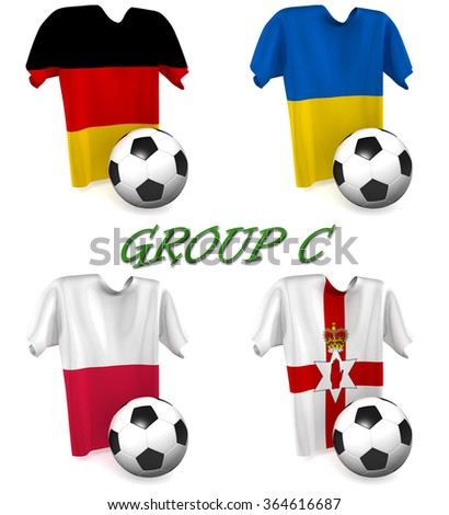 Three dimensional render of a t-shirt and ball depicting the four teams in group C - stock photo