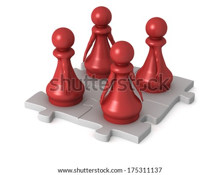 Three dimensional render of a team of red pawns working together. Concept for teamwork. - stock photo