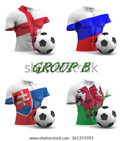 Three dimensional render of a torso and ball depicting the four teams in group B - stock photo