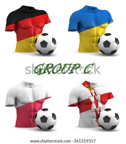 Three dimensional render of a torso and ball depicting the four teams in group C - stock photo