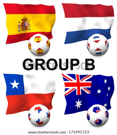 Three dimensional render of Group B of the worlds greatest soccer competition to be held in 2014 - stock photo